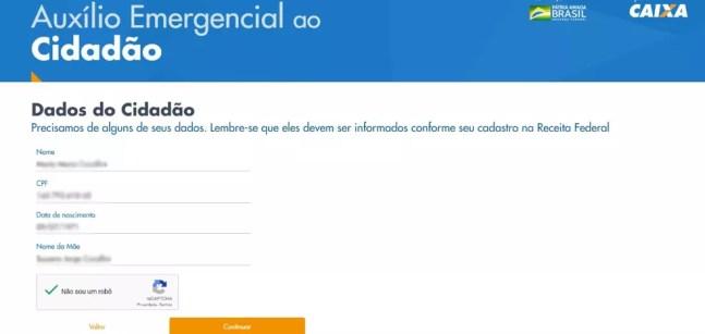 Página 3 para cadastro no programa de auxílio emergencial no site da Caixa — Foto: Reprodução