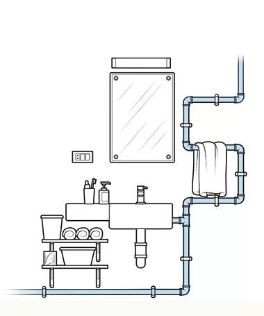 A tubulação aparente é uma boa pedida para dar um ar industrial e moderno ao banheiro (Foto: Ilustração Evandro Bertol)