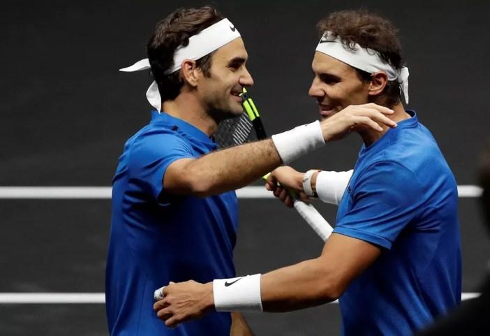Federer e Nadal dão show de tênis nas duplas e vencem americanos em exibição