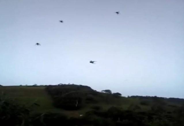 """""""Chuva de aranha"""" foi registrada na zona rural de Espírito Santo do Dourado (MG) — Foto: João Pedro Fonseca"""