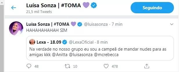 Tweet de Lexa (Foto: Reprodução/Twitter)