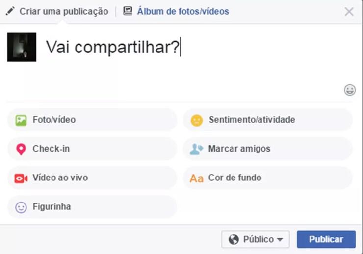 Facebook muda regra de compartilhamento de publicações na rede social. (Foto: Reprodução/Facebook)