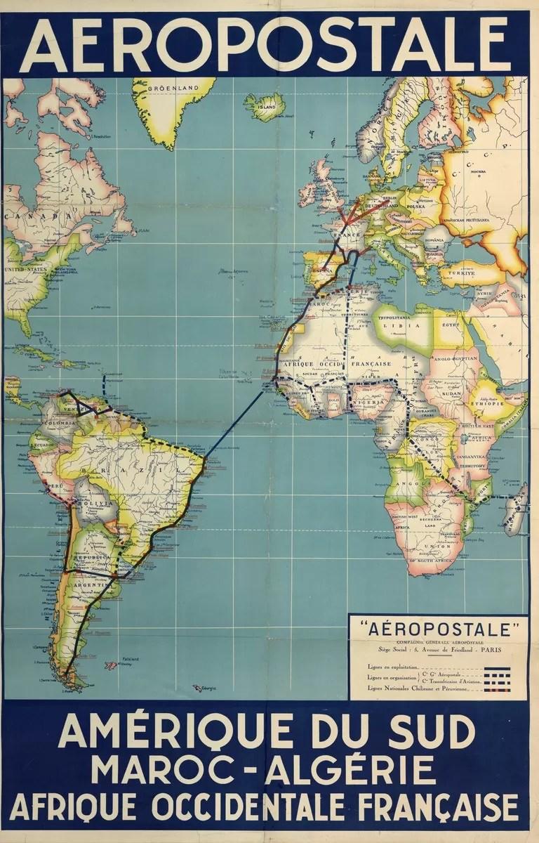 Propaganda da Aéropostale mostrando a rota dos pilotos, que incluía o Brasil.