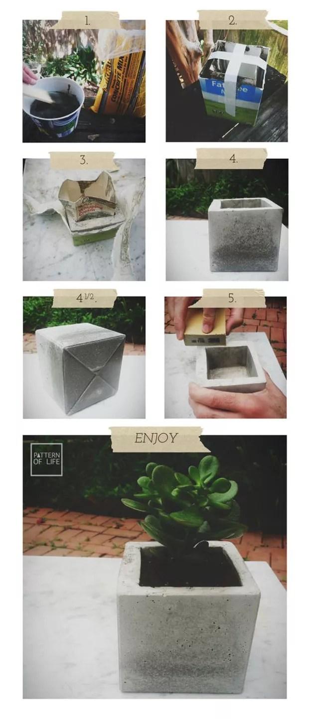 Vaso de cimento (Foto: Reprodução/Pinterest)