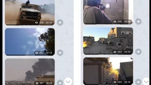 Imagens de confrontos divulgadas em alta resolução em grupo do EI em português no Telegram (Foto: Reprodução/Telegram)