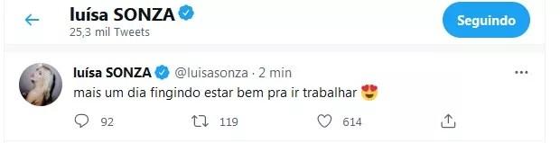 Tweet de Luísa Sonza (Foto: Reprodução/Twitter)