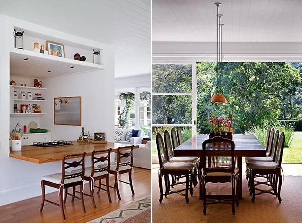 Cozinha gourmet | Aberta para o living, a área possui bancada produzida com a madeira aproveitada dos caibros. As cadeiras de palhinha são herança da casa (Foto: Denilson Machado)