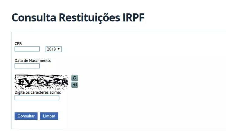 Consulta IRPF 2019 — Foto: Reprodução