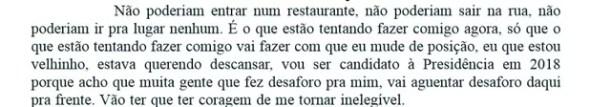 Lula diz na página 107 do depoimento que será candidato em 2018 (Foto: Reprodução)