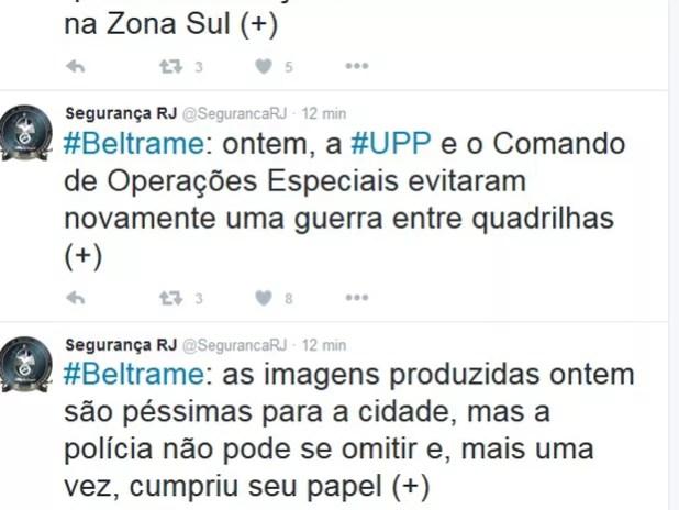 Beltrame comentou nesta terça-feira a operação em Copacabana na segunda-feira (Foto: Reprodução/Twitter)
