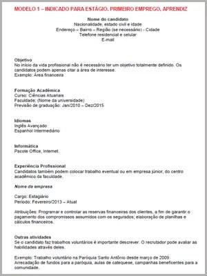 Modelo de currículo (Foto: Reprodução)