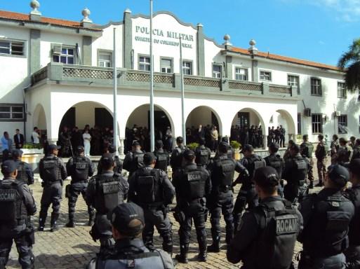 Coronel Araújo promove a última formatura geral com o efetivo antes da Copa do Mundo. — Foto: Assessoria de comunicação da PMRN
