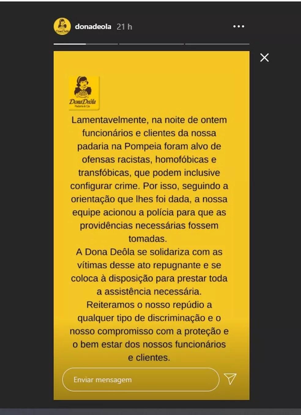 Dona Deôla se posiciona a respeito de caso de ofensas e agressões na padaria no Dia da Consciência Negra em São Paulo — Foto: Reprodução/Redes Sociais