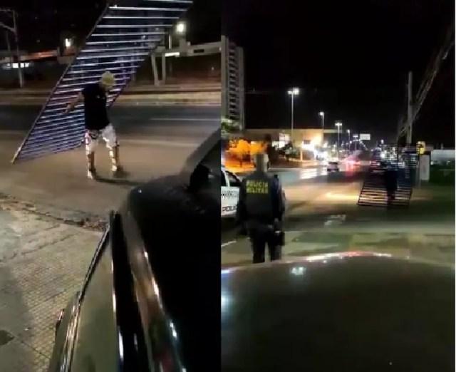 Imagens mostram homem devolvendo portão roubado — Foto: Reprodução