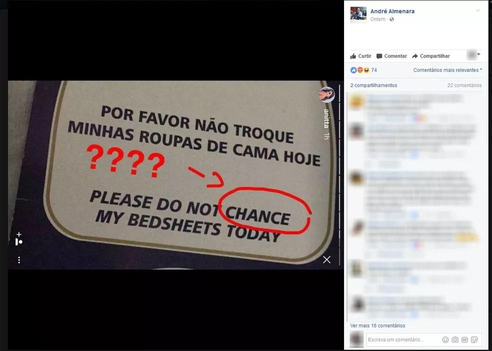 Cantora aponta erros em informativo em inglês (Foto: Reprodução/Facebook)