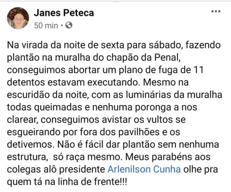 José Janes reclamou da falta de iluminação da unidade e cobrou mais estrutura à direção do Iapen-AC — Foto: Reprodução