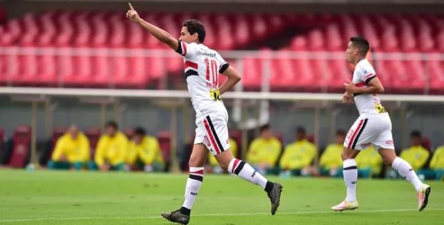 São Paulo X Palmeiras comemoração Ganso (Foto: Marcos Ribolli)