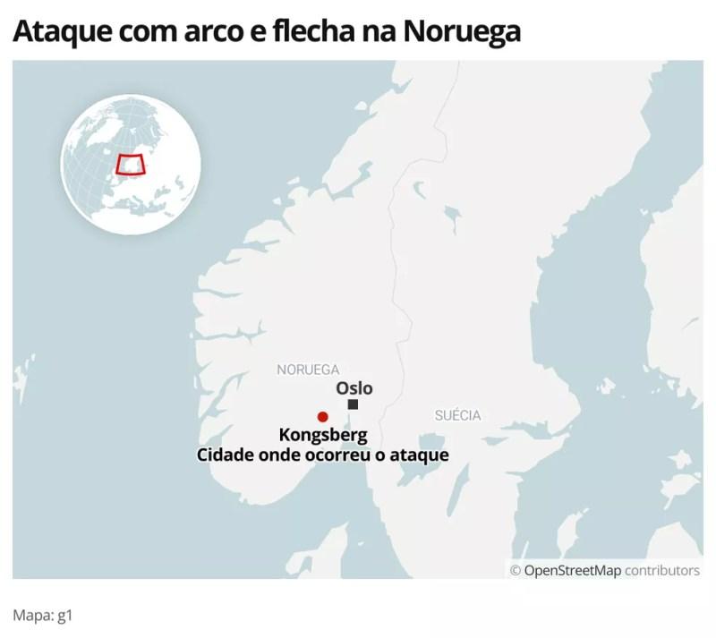 MAPA - Ataque na Noruega — Foto: g1