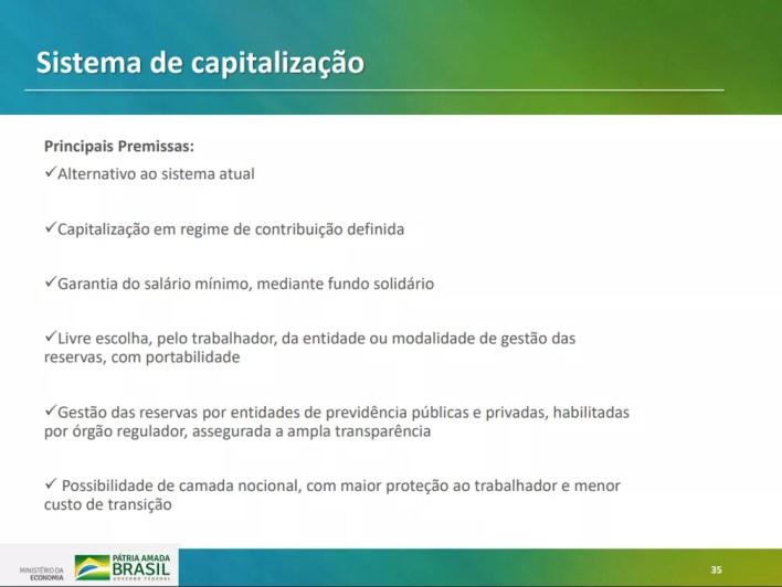 Texto sobre capitalização apresentado em proposta do governo para reforma da Previdência — Foto: Reprodução/Ministério da Economia