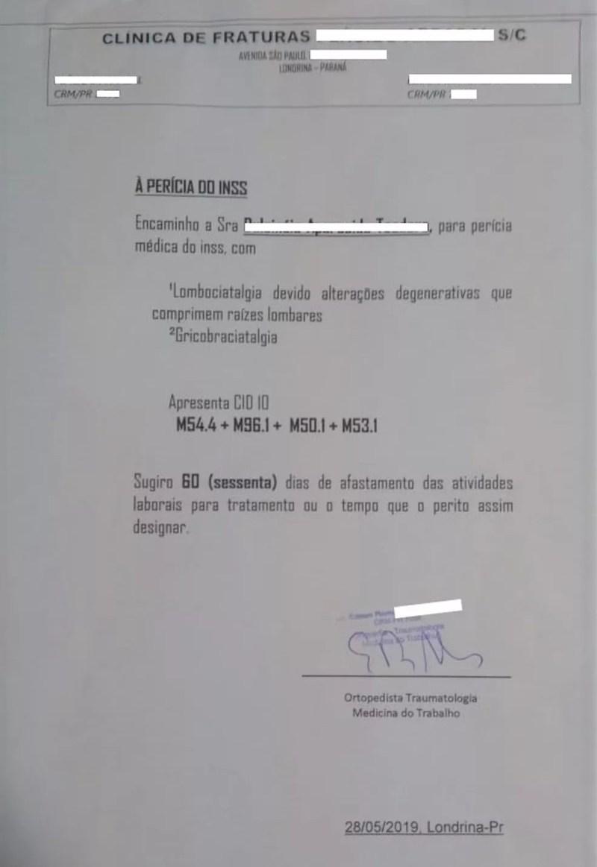 Durante o cumprimento de mandado, PF apreendeu um atestado médico com data de 28 de maio. Segundo a polícia, documento seria usado para fraudar o INSS — Foto: PF/Divulgação