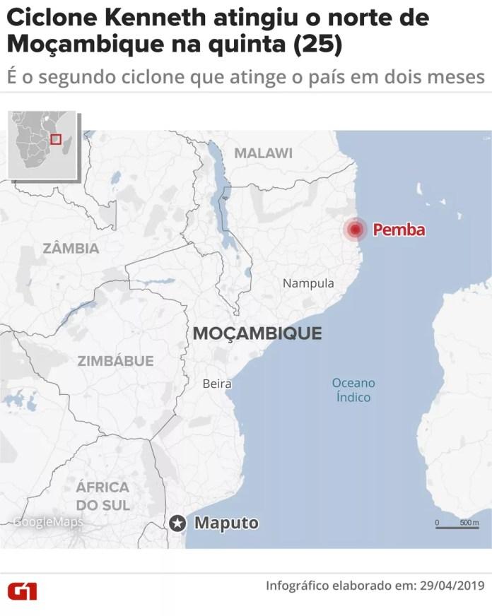 Ciclone atingiu principalmente a cidade de Pemba, no nordeste de Moçambique. — Foto: Juliane Monteiro/Arte G1