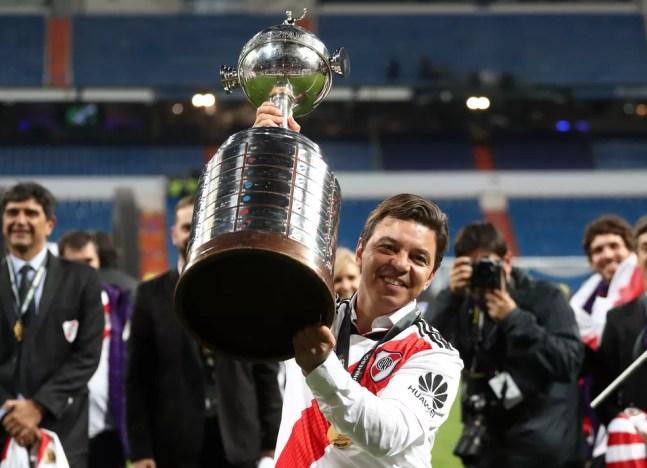 Marcelo Gallardo levantou títulos como jogador e técnico, mas parou no Verdão — Foto: Reuters