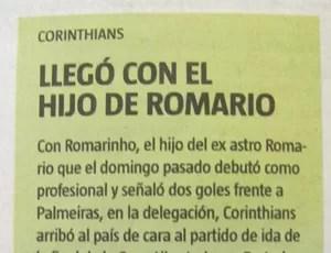 Jornal La Nacion publica que Romarinho é filho de Romário  (Foto: Reprodução / Jornal La Nacion)
