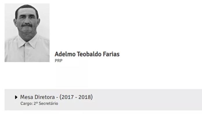Vereador Adelmo Farias, de Camalaú, PB — Foto: Reprodução/Site da Câmara Municipal de Camalaú