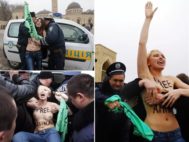 Feministas seminuas foram detidas em Kiev, na Ucrânia, país de origem do Femen (Foto: Sergii Polezhaka/Reuters e Divulgação/Femen)