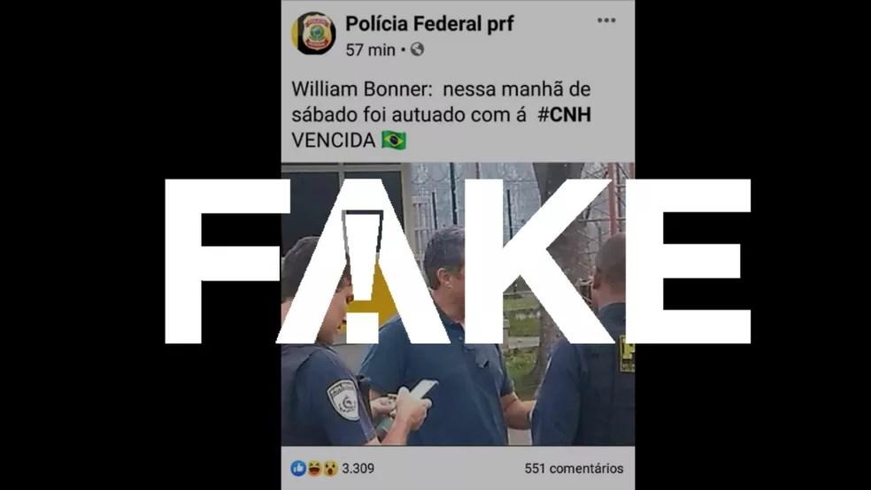 fake-cnh-bonner É #FAKE que Bonner foi autuado por dirigir com a CNH vencida