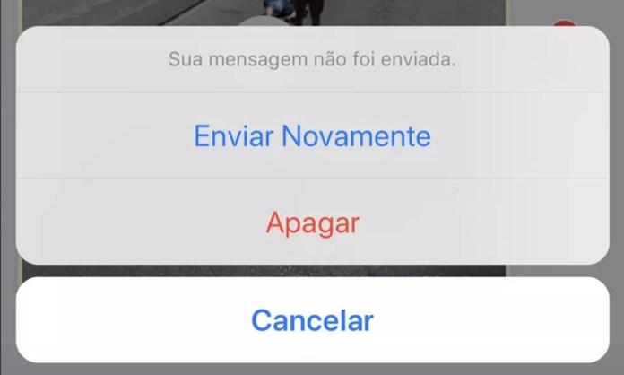 """WhatsApp faz alerta: """"Sua mensagem não foi enviada"""" — Foto: Reprodução"""