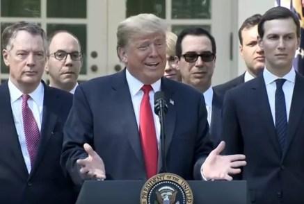 Presidente dos EUA, Donald Trump fala sobre o acordo chamado por ele de USMCA — Foto: Reprodução/Casa Branca