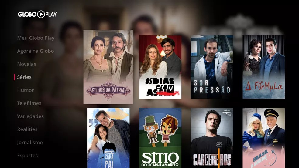 Interface do Globo Play na Apple TV (Foto: Divulgação/Globo Play)