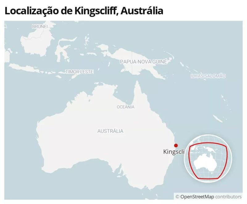 Mapa mostra local onde surfista foi morto por um tubarão — Foto:  G1
