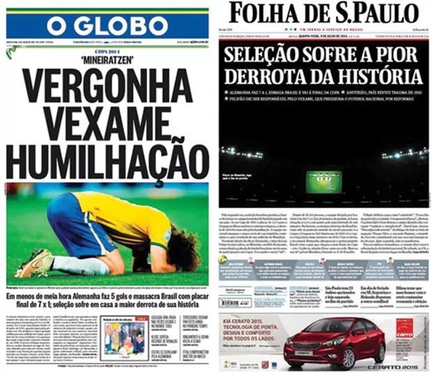 Capas O Globo e Folha de S. Paulo (Foto: Reprodução)