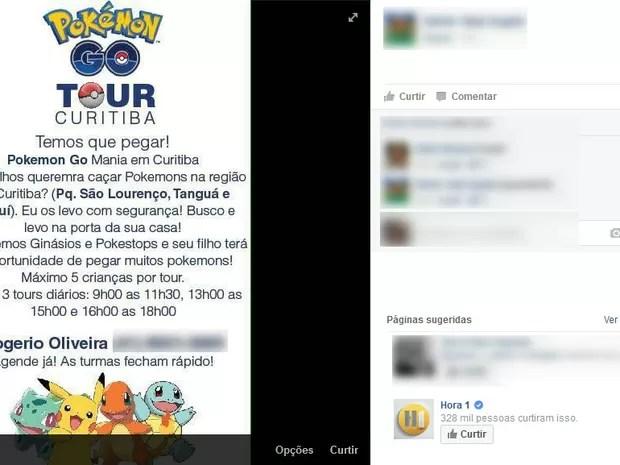 Designer criou um tour para capturar pokémons por Curitiba (Foto: Reprodução Facebook)