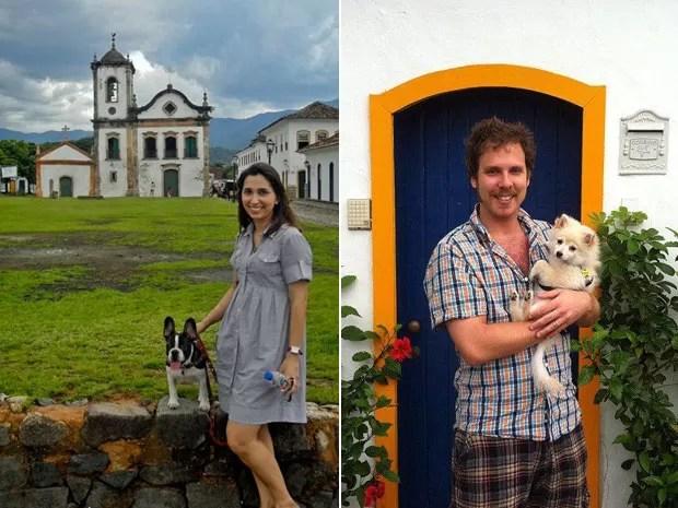 À esq., Jackeline com seu cão Maquiavel em Paraty; à dir., Hilas com Chimi Churri em Itaipava (Foto: Arquivo pessoal )