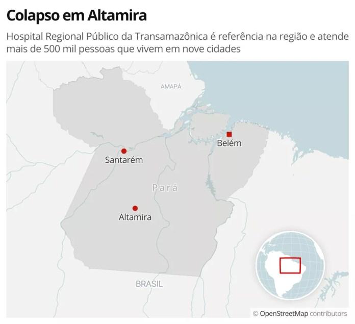 Colapso em Altamira: Hospital Regional Público da Transamazônica é referência na região e atende mais de 500 mil pessoas que vivem em nove cidades — Foto: G1