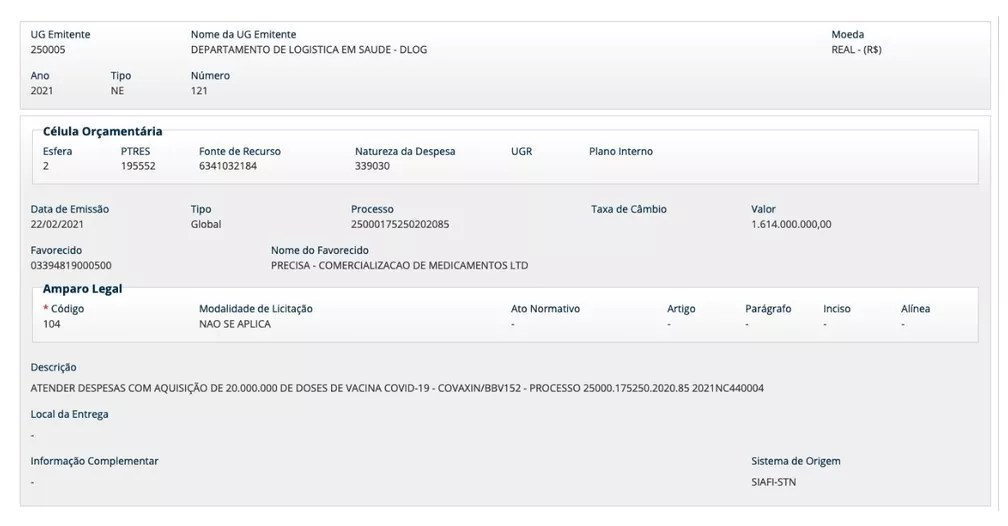 Página do Siafi que aponta o empenho de R$ 1,6 bilhão para a compra de 20 milhões de doses da Covaxin — Foto: Reprodução