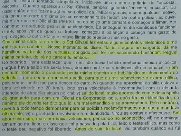 Em depoimento, militar disse que foi humilhado na frente de recrutas no Espírito Santo. (Foto: Reprodução/TV Gazeta)