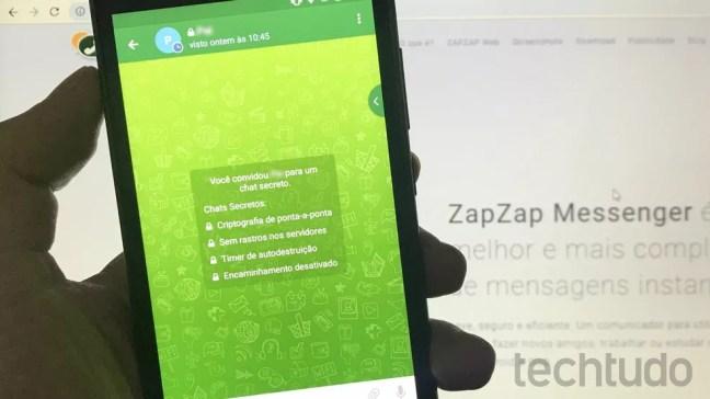 Conversas secretas do ZapZap tem mensagens autodestrutivas, não permitem prints nem encaminhar mensagens para fora — Foto: Rodrigo Fernandes/TechTudo