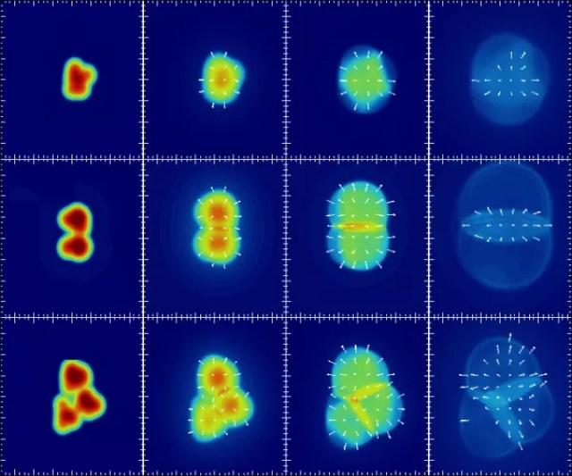 Gráfico mostrando como as colisões atômicas entre os diferentes ingredientes iniciais se expandem com o tempo para produzir plasmas em formas distintas. A colisão de topo foi gerada ao bater um único próton em um átomo de ouro; o meio de uma colisão entre um deutério e um átomo de ouro; e o fundo de uma colisão entre hélio-3 e um átomo de ouro. (Foto: PHENIX)