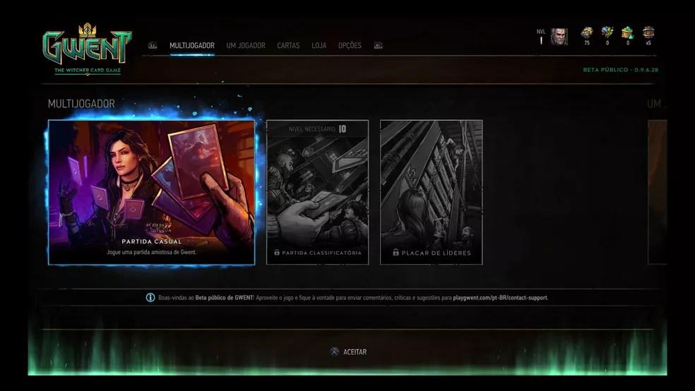 No menu inicial de Gwent você pode entrar no multiplayer (Foto: Reprodução/Felipe Vinha)