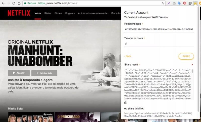 Abra a Netflix com e use o plugin ShareAccount — Foto: Reprodução/Nicolly Vimercate