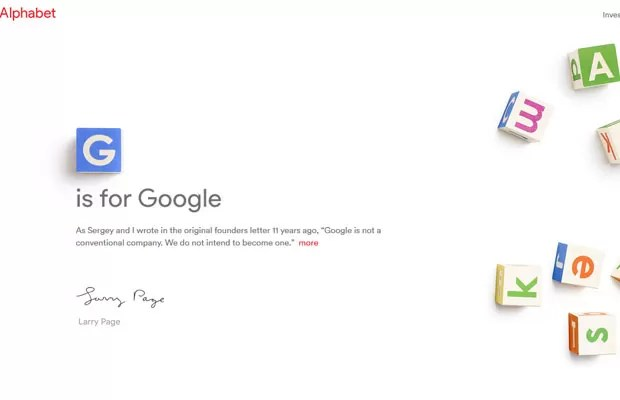 Página 'abc.xyz', usada para anunciar a criação da Alphabet, companhia manterá os serviços de internet do Google à parte do desenvolvimento de novas tecnologias. (Foto: Reprodução/abc.xyz)