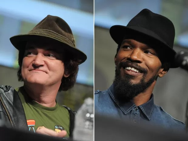 Cineasta Quentin Tarantino e ator Jamie Foxx no painel de 'Django livre' na Comic-con, em San Diego, neste sábado (14) (Foto: Jordan Strauss/Invision/AP)