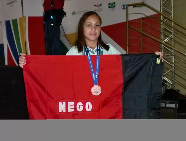 Deyzielle Paulo, bronze na luta olímpica das Olimpiadas Escolares (Foto: Divulgação / Sejel)