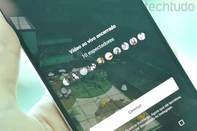 Ao final, você terá acesso a métricas de audiência da sua transmissão no Instagram (Foto: Melissa Cruz / TechTudo)