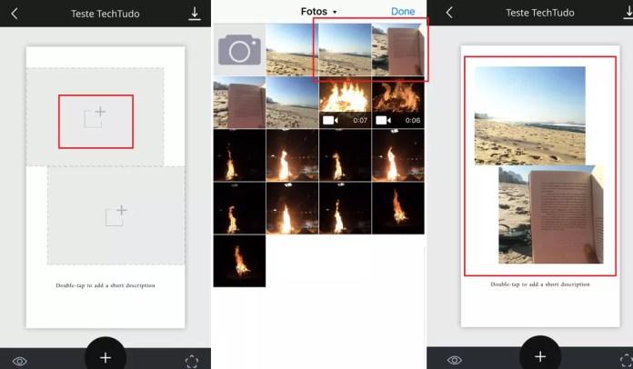 Escolha as fotos que deseja usar no Unfold (Foto: Reprodução/Luana Marfim)