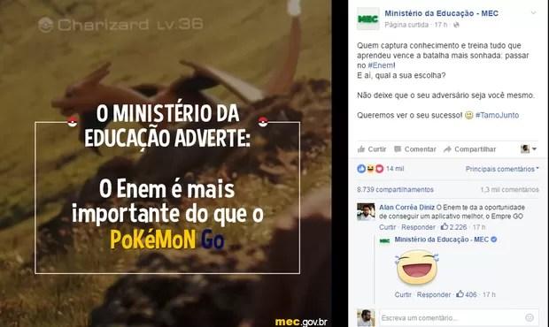 MEC faz postagem sobre o Pokemon Go (Foto: Reprodução/Facebook)